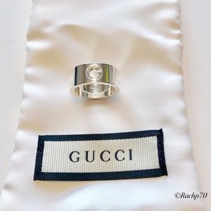 New Authentic Gucci Cut-Out G Logo Ring Size 6